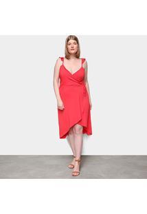 Vestido Naif Plus Size Curto Assimétrico - Feminino-Coral