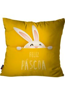 Capa De Almofada Pump Up Decorativa Avulsa Pã¡Scoa Amarelo 45X45Cm - Amarelo - Dafiti