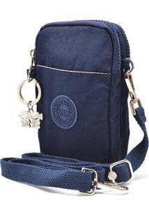 Bolsa Hendy Bag Transversa Tactel Com Repartição Feminino - Feminino-Azul Escuro