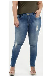Calça Feminina Jeans Destroyed Plus Size Razon