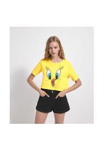 Blusa Cropped Gola Redonda Manga Curta Estampa Piu Piu   Looney Tunes   Amarelo   M