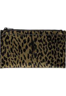 Saint Laurent Carteira Animal Print Monogramada - Preto