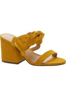 Tamanco Em Couro Com Amarração- Amarelo Escuro- Saltschutz