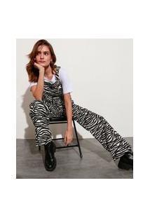 Macacão De Sarja Estampado Animal Print Zebra Com Bolsos Mindset Preto