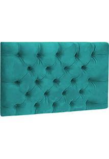 Cabeceira Painel Tais 90Cm Decor Magazine Box Solteiro Capitone Suede Azul Tiffany