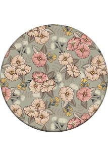 Tapete Love Decor Redondo Wevans Cute Flowers Cinza 84Cm