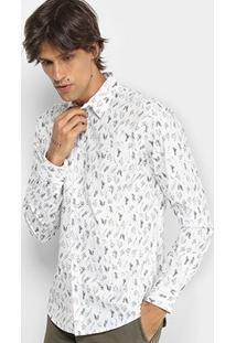 Camisa Colcci Manga Longa Estampa Folhagem Slim Masculina - Masculino