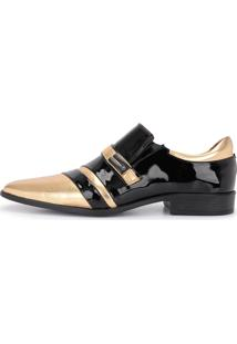 Sapato Social Verniz Gofer 12224L Preto E Dourado