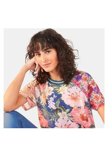 Camiseta Farm Manga Curta Patch Chita Maxi Filipinas - Feminina