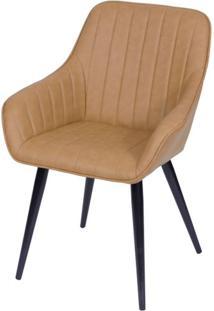 Cadeira Lounge Com Braco Courino Caramelo E Costura Vertical - 50017 - Sun House