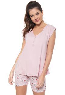 Pijama Malwee Liberta Maternidade Floral Rosa