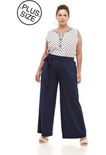 Calça Melinde Pantalona Plus Size Lisa Azul Marinho