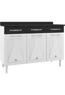 Gabinete Cozinha Telasul Star Aço 120Cm 3 Portas Branco/Preto