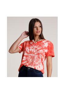 Blusa Feminina Estampada Tie Dye Manga Curta Decote Redondo Vermelha