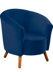 Poltrona D'Rossi Decorativa Angel Suede Azul Marinho Com Pés Palito - D'Rossi