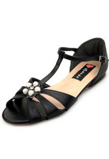 Sandália Rasteira Love Shoes Salomé Aplique Pérola Preto