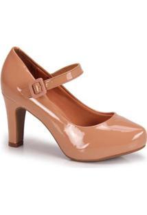 Sapato Scarpin Vizzano Boneca Verniz - Feminino-Nude