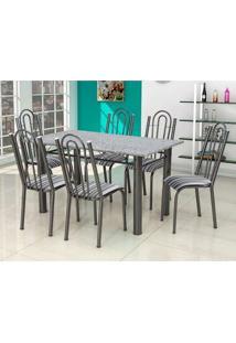 Conjunto De Mesa Luiza Com 6 Cadeiras Craqueado Preto Listrado