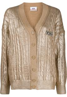 Gcds Metallic Cable Knit Cardigan - Dourado