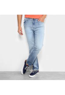 Calça Jeans Ellus Reta Memory Straight Masculina - Masculino-Azul
