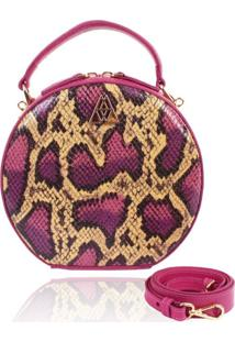 Bolsa Redonda Campezzo Couro Pink Snake Artball - Kanui