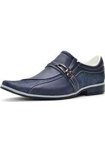 Sapato Casual Social Em Jeans Sintético Sapatofran Conforto Leve Lançamento Azul
