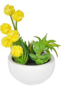 Vaso Com Flor- Verde & Amarelo- 31Xã˜25Cm- Btc Debtc Decor