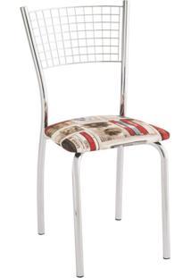 Cadeira Para Cozinha Assento Estofado 426 Unimóvel Cromado/Estampado