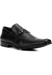 Sapato Social Couro Shoestock Textura Fivela Masculino - Masculino-Preto