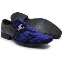 99019ea04 Sapato Social Couro Schiareli Verniz Masculino - Masculino-Azul+Preto