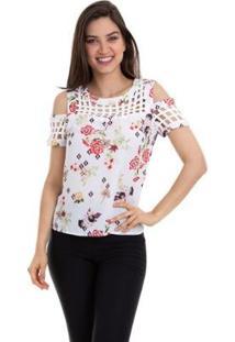 Blusa Crepe Estampada Com Ombro Vazado Feminina - Feminino-Branco+Vermelho
