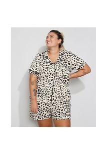 Pijama Feminino Plus Size Manga Curta Estampado Animal Print Guepardo Com Vivo Contrastante Bege