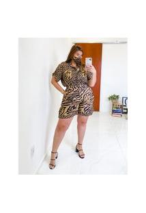 Bermuda Almaria Plus Size Miss Taylor Animal Print Multicolorido