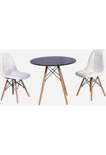 Conjunto Mesa Eiffel Preta 90Cm + 2 Cadeiras Dkr Charles Eames Wood Estofada Botonê - Branca