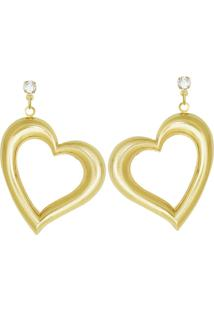 Brinco Prata Mil Trc Pedra C/ Coração Estampado (Metade) Dourado