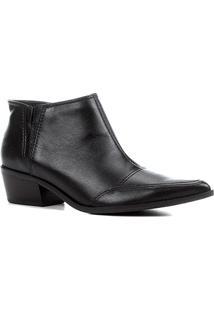 Bota Couro Shoestock Cano Curto Feminina - Feminino-Preto