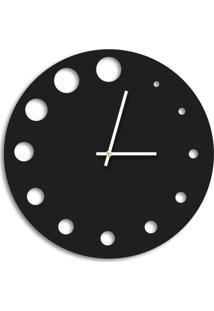 Relógio De Parede Decorativo Premium Preto Ônix Com Detalhes Vazado Médio