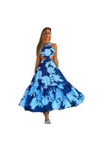 Vestido Zarky Midi Estampa Floral Azul Marinho
