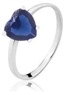 Anel Solitário Coração Zircônia Safira Banhado Ródio Lys Lazuli Feminino - Feminino-Prata