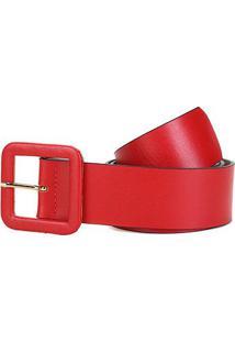 Cinto Couro Shoestock Fivela Quadrada Feminino - Feminino-Vermelho