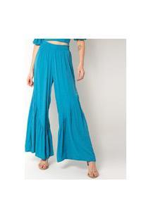 Calça Pantalona Elora Babado Feminina Azul