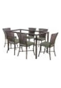 Jogo De Jantar 6 Cadeiras Turquia Pedra Ferro A30 E 1 Mesa Retangular Sem Tampo Ideal Para Área Externa Coberta