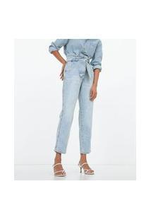Calça Jeans Clochard Com Amarração Frontal | Marfinno | Azul | 46