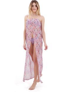 Regatão Rosa Chá Stella Pop Art Beachwear Seda Estampado Feminino (Estampado, M)