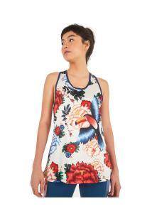 Camiseta Regata Farm Rio Dry Fit Oriente Floral - Feminina - Off White