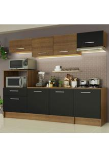 Cozinha Completa Madesa Onix 240002 Com Armário E Balcão - Rustic/Preto 5Zd8 Marrom