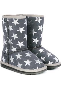 Emu Kids Ankle Boot De Camurça Estampada - Cinza
