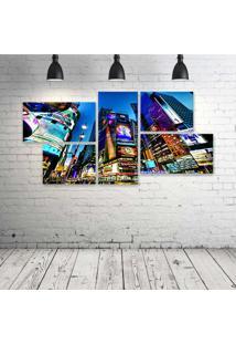 Quadro Decorativo - Times-Square-New-York-Usa-City-Cities - Composto De 5 Quadros - Multicolorido - Dafiti