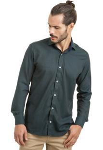 Camisa Di Sotti Dobby Verde Musgo - Masculino