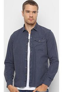 Camisa Replay Quadriculada Manga Longa Masculina - Masculino